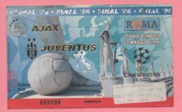 Biglietto Ingresso Stadio Ajax Juventus 1996 - Tickets - Entradas