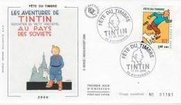 Yvert 3303 TINTIN FDC Sur Soie N° 1161 Fête Du Timbre ENTRAMMES Mayenne 11/3/2000 - Bande Dessinée - FDC