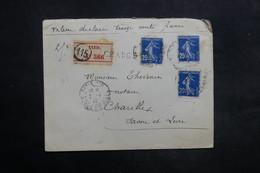 FRANCE - Enveloppe En Recommandé Chargé De Paris Pour Charolles En 1910 , Affranchissement Semeuses - L 35273 - Marcophilie (Lettres)