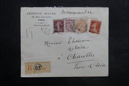 FRANCE - Enveloppe Commerciale En Recommandé De Paris Pour Charolles En 1913 , Affranchissement Plaisant - L 35274 - Marcophilie (Lettres)