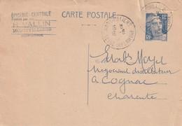 """Entier Postal De """"Montivilliers"""" (Seine Inférieure, 76) Du 18-08-1951 Pour Périgueux (Dordogne-24) - Marcophilie (Lettres)"""