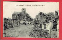 ARMENTIERES RUINES GUERRE 1914 1918 WWI CONTOUR DU RIVAGE ET EGLISE SAINT WAAST CARTE EN TRES BON ETAT - Armentieres