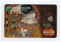 Credit Card Art Gustav Klimt The Kiss Bankcard Ukrsibbank Bank UKRAINE MasterCard GOLD Expired - Cartes De Crédit (expiration Min. 10 Ans)