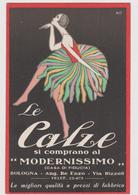"""Pubblicitaria, Le Calze Al """"Modernissimo"""" Di Bologna Illustrata Da Nasi Leonella - F.p. -  Anni '1920 - Pubblicitari"""