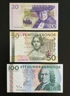 SWEDEN SET 20 50 100 KRONOR BANKNOTES 1997 2008 2009 UNC - Sweden