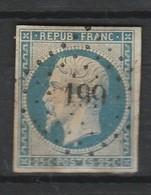 FRANCE NAPOLEON III 1854 YT N° 14A TYPE I Obl. LOSANGE PC 199 AUXERRE - 1853-1860 Napoléon III