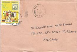 Togo 1985 Kara Flag Yacht Colonial Stamps On Stamps Cover - Postzegels Op Postzegels