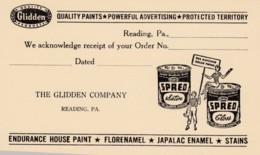 Reading Pennsylvania, Glidden Paint Advertisement On Postal Card, C1950s Vintage Postcard - United States