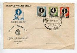 HOMENAJE NACIONES UNIDAS, DERECHOS HUMANOS. URUGUAY AÑO 1958 SOBRE PRIMER DIA ENVELOPE FDC - LILHU - ONU