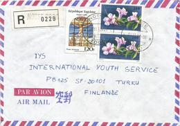 Togo 1988 Notse G-1 Christ Glass Stained Window Ipomea Flower Registered Cover - Togo (1960-...)