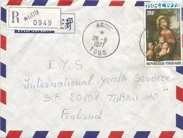 Togo 1977 Agou Madonna With Child Corregio Registered Cover - Togo (1960-...)