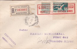 1926 RARE COVER URUGUAY AIRMAIL RECOMMANDE REGISTERED CIRCULEE MONTEVIDEO-BUENOS AIRES- BLEUP - Uruguay