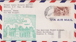 1946 AIRMAIL COVER PRIMER VUELO FIRST FLIGHT MEXICO DF-HOUSTON TEXAS VIA PAA CLIPPER- BLEUP - Mexique