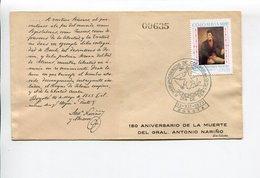 GRAL. ANTONIO NARIÑO, 150 AÑOS DE SU MUERTE. COLOMBIA AÑO 1973 SOBRE PRIMER DIA ENVELOPE FDC - LILHU - Celebridades