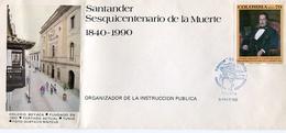 SANTANDER SESQUICENTENARIO DE LA MUERTE 1840-1990. COLOMBIA AÑO 1990 SOBRE PRIMER DIA ENVELOPE FDC - LILHU - Celebridades
