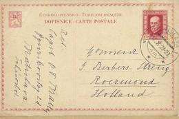 1929   Postkarte Masaryk 1,50 K. Von Bratislava Nach Roermond, Holland - Entiers Postaux