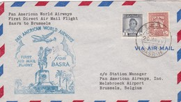 1949 AIRMAIL COVER PAN AMERICAN WORLD AIRWAYS FIRST DIRECT AIR MAIL FLIGHT BASRA TO BRUSSELS- BLEUP - Iraq