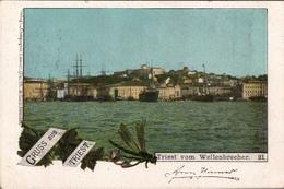! Alte Ansichtskarte Gruss Aus Triest. Trieste, Hafen, Harbor, 1898 - Trieste