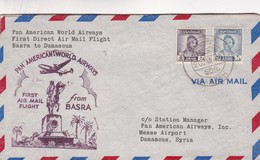 1949 AIRMAIL COVER PAN AMERICAN WORLD AIRWAYS FIRST DIRECT AIR MAIL FLIGHT BASRA TO DAMASCUS- BLEUP - Iraq