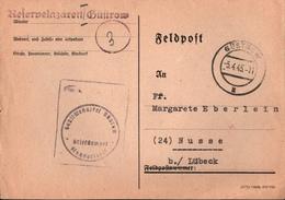 ! 5.4.1945 Feldpostkarte 3. Reich, Späte Post, Reservelazarett Güstrow, Mecklenburg, Autograph - Deutschland