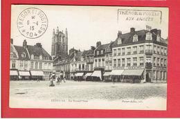 BERGUES 1915 LA GRAND PLACE CACHET POSTAL MILITAIRE TRESOR ET POSTES 104 CARTE EN TRES BON ETAT - Bergues