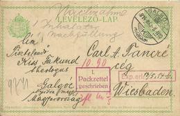 1914  Postkarte Von Galgooz Nach Wiesbaden, Deutschland - Entiers Postaux