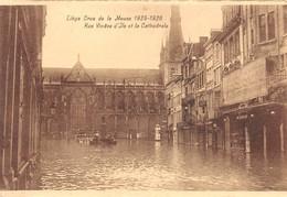 """4727 """" LIEGE-CRUE DE LA MEUSE 1925-1926 RUE VINAVE D'ILE ET LA CATHEDRALE  """"-ALLUVIONE-CART. POST. OR. NON SPED. - Belgio"""