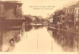 """4728 """" LIEGE-CRUE DE LA MEUSE 1925-1926 BOULEVARD DE LA SAUVENIERE """"ANIMATA-ALLUVIONE-CART. POST. OR. NON SPED. - Belgio"""