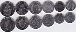 Eastern Caribbean - Set 6 Coins 1 + 2 + 5 + 10 + 25 Cents + 1 Dollar 2004 - 2008 UNC Ukr-OP - Oost-Caribische Staten