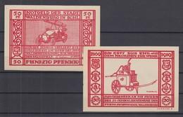 Notgeld Stadt Waldenburg Schlesien Feuerwehr  Feuerwehrauto 50Pfg Rot 1919 - [11] Local Banknote Issues
