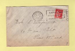 Flier - Paris XV - Exposition Internationale Paris 1937 - Marcophilie (Lettres)