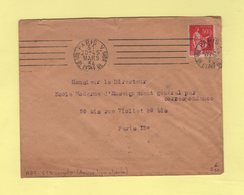 RBV - Paris V - 6 Lignes Droites Inegales (derniere Ligne Absente) - 1934 - Marcophilie (Lettres)