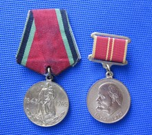 Soviet Russian USSR: 20 Years Of Victory In WWII Medal And Lenin 100 Anniversary Medal / Lot Of 2 - Army