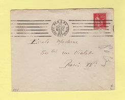 RBV - Paris XX - 6 Lignes Droites Inegales - Marcophilie (Lettres)