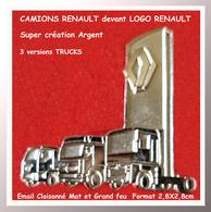 SUPER PIN'S TRUCKS RENAULT : Création En émail Cloisonné  ARGENT Grand Feu Et Satiné 3 Camions Devant LOGO 2,8X2,8cm - Renault