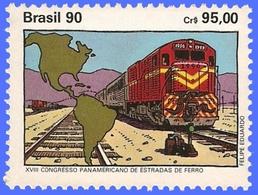 BRAZIL #2280  -  18th PANAMERICAN  CONGRESS OF RAILROADS -  LOCOMOTIVE - TRAIN  1990 - Brazil