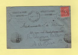 Krag - Paris 54 - Utilisez La Poste Aerienne (+ Texte Limé) - Vignettes Au Dos - Marcophilie (Lettres)