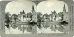 Netherlands ~ MONNIKEN ~ Old Dutch Tower & Canal Stereoview 25248 355x NEAR MINT - Stereoscoop