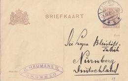 Pays-Bas, Entier Briefkaart 7,5c Brun (Wilhelmine), Obl. Groenlo Le 1 IV 21 Pour Nüremberg - Entiers Postaux