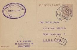 Pays-Bas, Entier Briefkaart 7,5c Brun (Wilhelmine), Obl. Maastricht Le 21 IX 23 Pour Heerlen - Postal Stationery