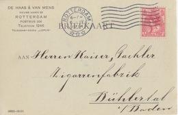 Pays-Bas, CP Pré-imprimée Carton Verdâtre, Obl Flamme Rotterdam Le 6 IV 14 Sur TP N°51 Pour L'Allemagne - Periode 1891-1948 (Wilhelmina)