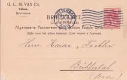 Pays-Bas, CP Pré-imprimée (Tabak) Carton Rosatre, Obl Flamme Rotterdam Le 18 XII 14 Sur TP N°51 Pour L'Allemagne - Periode 1891-1948 (Wilhelmina)