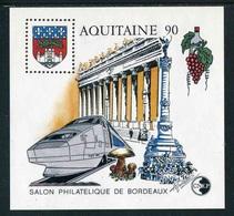 """FEUILLET-SOUVENIR** De 1990 De La CNEP """"Salon Philatélique De Bordeaux - AQUITAINE 90 """" - CNEP"""