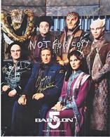 AUTOGRAPHED  PHOTO   BABYLON  5    Signed By 3 Actors.  BILL  MUMY, PETER JURASIK,  CAPT. SHERIDAN - Autographs