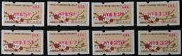 Set Of 2014 ATM Frama Stamps-Plum Blossom & Bird- Red Imprint Unusual Flower - Philatelic Exhibitions