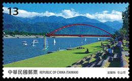 NT$13 2019 Taiwan Scenery -Yilan Stamp River Bridge Sail Boat Park Mount Cloud - Bridges