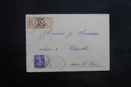 FRANCE - Enveloppe En Recommandé De Paris Pour Charolles En 1912 , Affranchissement  Semeuse - L 35277 - Marcophilie (Lettres)