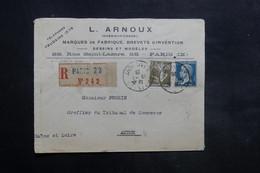 FRANCE - Enveloppe Commerciale De Paris En Recommandé Pour Autun En 1926 - L 35285 - Marcophilie (Lettres)