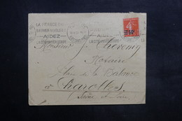 FRANCE - Type Semeuse Surchargée Sur Enveloppe De Paris Pour Charolles En 1927 - L 35286 - Postmark Collection (Covers)