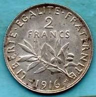 FRANCE  2 Francs  1916  Silver  SEMEUSE - France